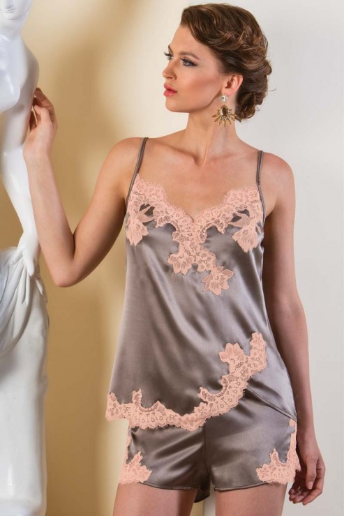 Cotton Club Seide - Lingerie Top Primario - Taupe Pesco