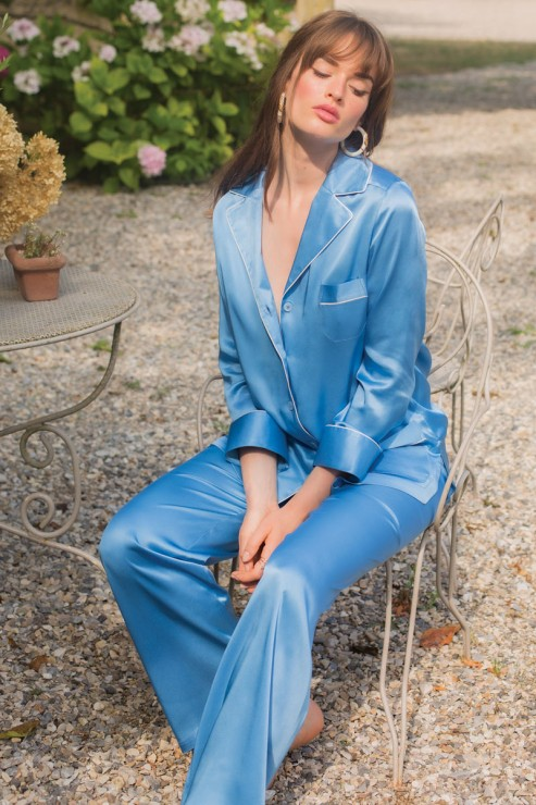 Marjolaine - Seiden Pyjama Set - Cobalt