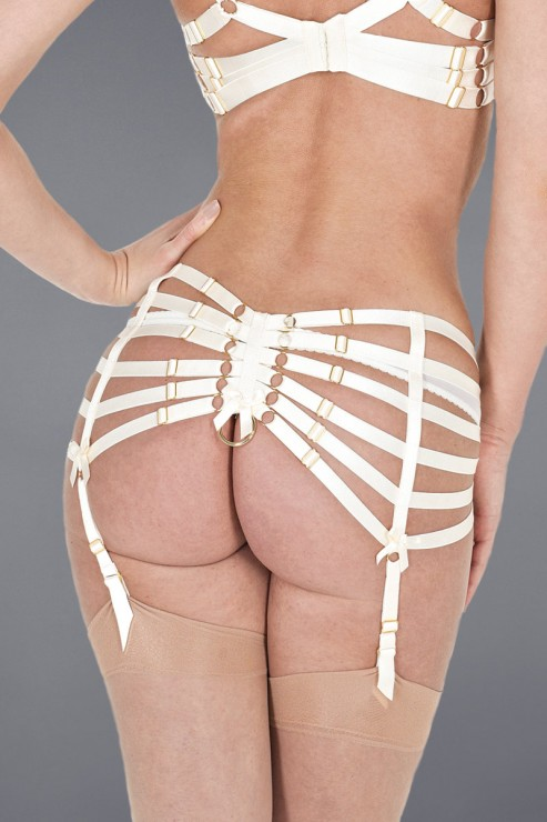 Bordelle Lingerie - Webbed Suspender Strapsgürtel - Creme