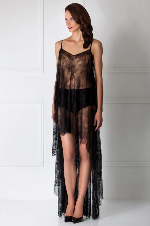Amoralle - Flowering Gown Negligee - Schwarz