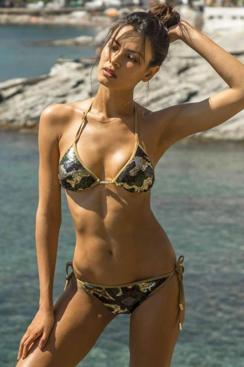 Eniqua - Glam Camo Green - Triangel Bikini Set