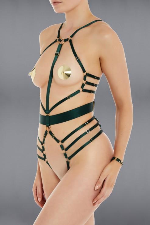 Bordelle Lingerie - Ula Bondage Body Harness - Eden Grün