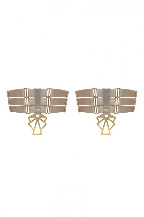 Bordelle Lingerie - Art Deco Garters - Karamel-Sand