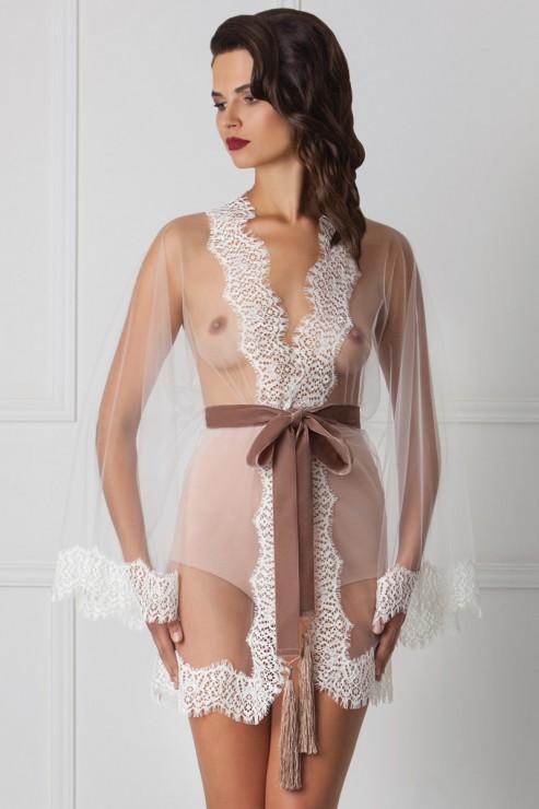 Amoralle - Indulging Mini Spitzen Kimono - Weiss