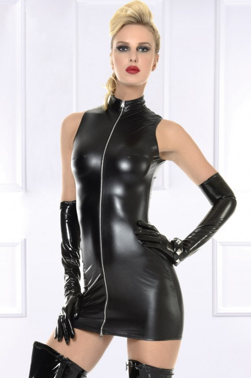 Maison Catanzaro - Lindsay Wetlook Robe - Schwarz