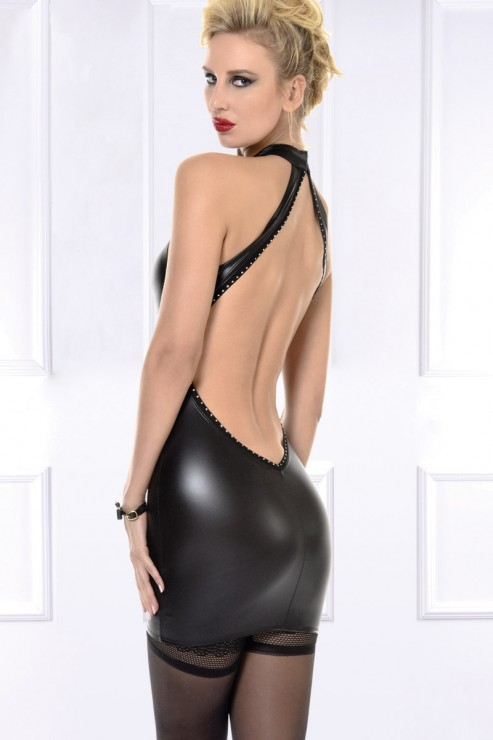 Maison Catanzaro - Poussycat Wetlook Kleid - Schwarz